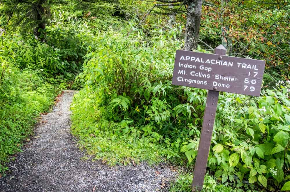 A sign for the Appalachian Trail in the Smoky Mountains.