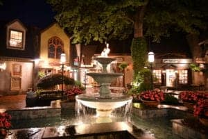 The Vilage in Gatlinburg at night.