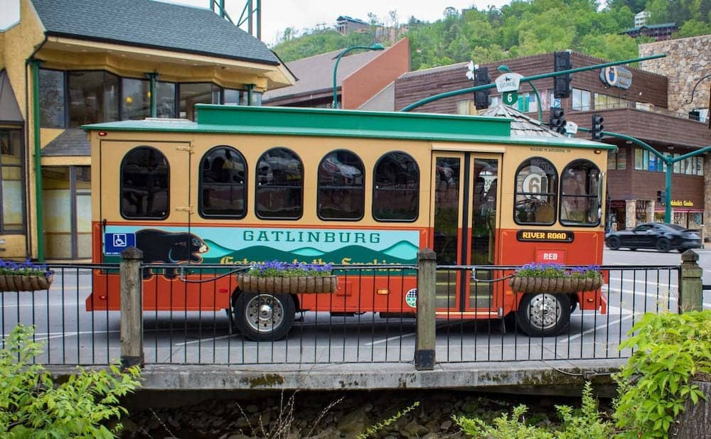 Gatlinburg Trolley parked downtown