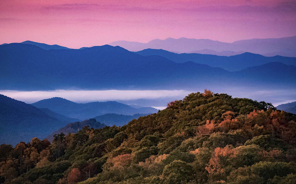 sunrise in the Smoky Mountains in fall