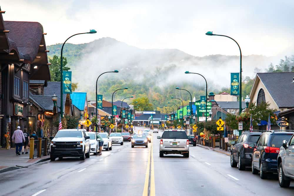 downtown Gatlinburg in the rain